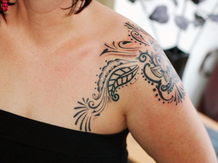 Upper Shoulder Tattoo For Women