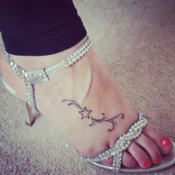 Designs for womens foot tattoos for Star tattoos on foot