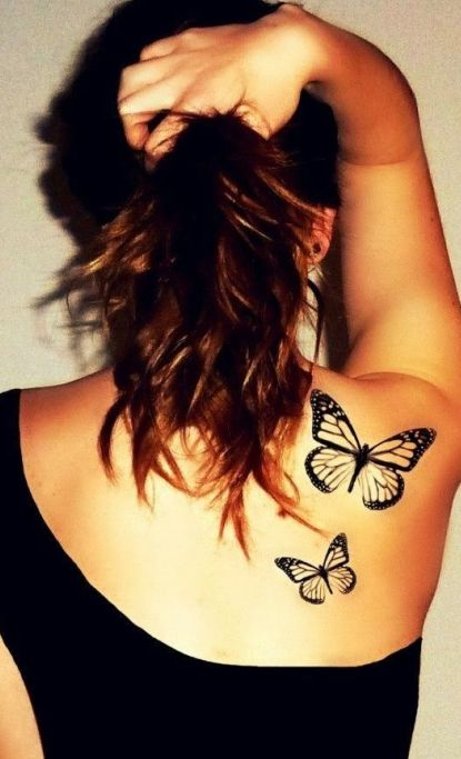 Butterfly Tattoos on Girls Back Shoulder