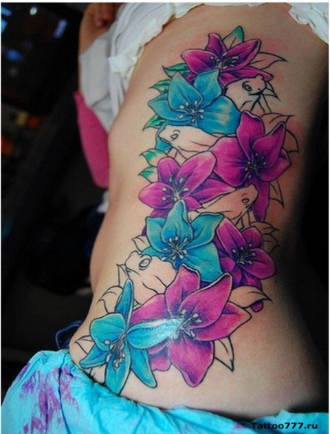 Colorful Hawaiian Flower Tattoos For Women
