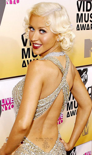 Actress Christina Aguilera Tattoos