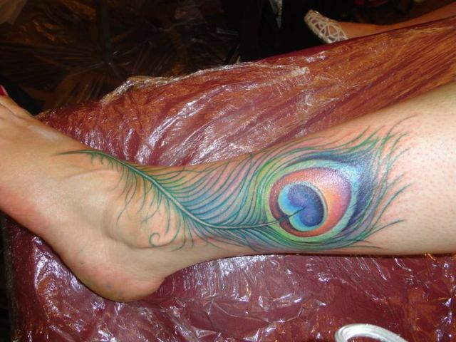 Peacock Feather Tattoo on Leg